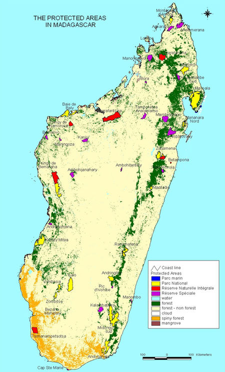 Carte des aires protégées de Madagascar National Park