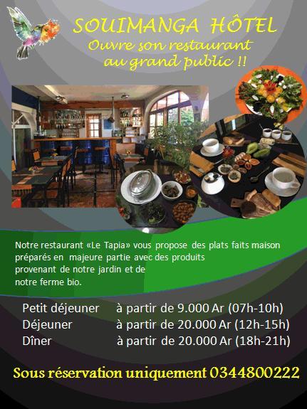 Le restaurant le Tapia Souimanga Hôtel