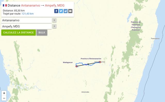 calculateur de distances entre les villes de Madagascar