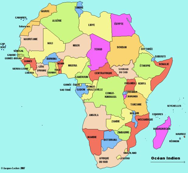 Restrictions voyages pour le continent AFRIQUE