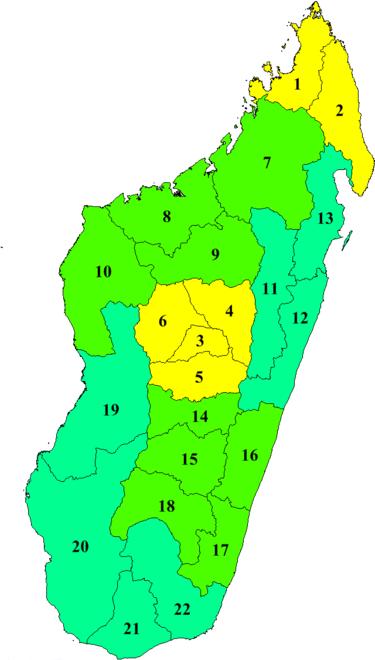 Madagascar carte des 22 régions