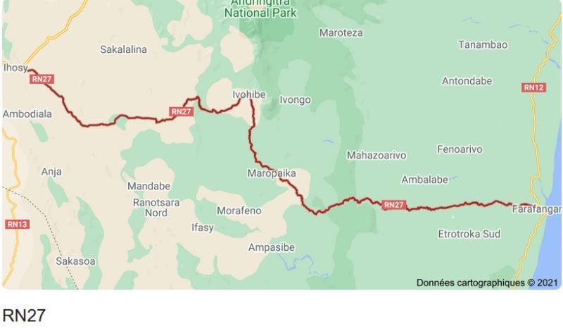 Où est la RN 27 à Madagascar ?